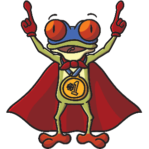 FrogQuest Mascot with #1 Champ's Medal